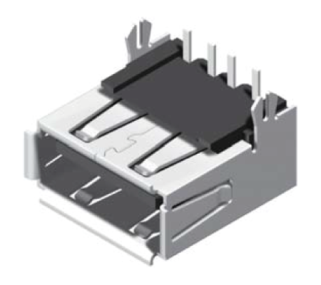USB Female Reverse Flat Dip 90° A Type